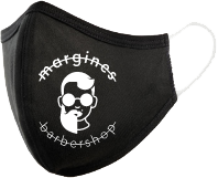 black margines barbershop mask